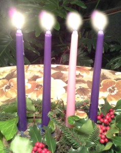 Four Advent candles help us remember the lessons of this season. We light one additional candle each week to remember Jesus is coming, and he brings us Hope, Love, Joy and Peace.