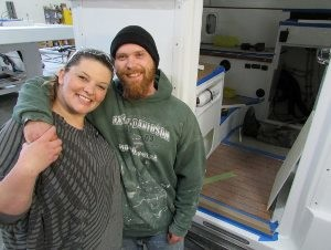 "Keith McDermid, 26, right, and Kayla Sylva, 28, are learning new skills to hand-build high-quality campers like this one at XP Camper, a Grass Valley manufacturer that exports all over the world. The ""Leap of Faith"" matching fund drive supports the local services that helped the couple move from chaos to stability."