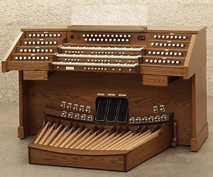 This 3-Manual Bravura organ, by the Allen Organ Co., looks much like the organ we hope to acquire at PEACE Lutheran Church.