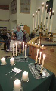 Candles and gentle music evoke an atmosphere of tranquil mystery during the Taizé-style prayer service, at 6:30 p.m. on the third Wednesday each month at Peace Lutheran Church.