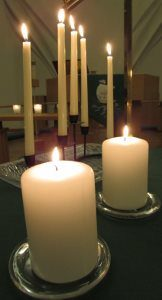 Candles and music evoke an atmosphere of tranquil mystery during the Taizé-style prayer service, at 6:30 p.m. on the third Wednesday each month at PEACE Lutheran Church.