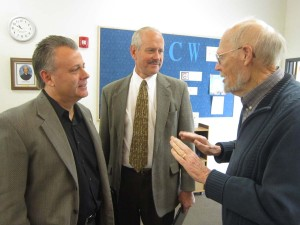 """Nevada County Chief Probation Officer Michael Ertola and Sheriff Keith Royal chat with Peace Lutheran Church member Bob Lenhard after a session of the Contemporary Issues Study Group. The group is considering """"Issues Facing Our Local Officials."""""""