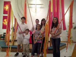 PEACE Lutheran Church will celebrate Pentecost on May 15 with uplifting symbols in our sanctuary evoking fire and wind -- symbols of the Holy Spirit!
