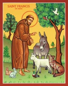 St. Francis of Asissi preaching to animals. Courtesy democracyweb.com