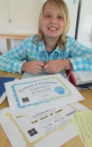 Alexis Nulty, 12, recently won two awards for computer coding projects at her school. She is thriving in the stability offered at the Booth Family Center for the homeless.