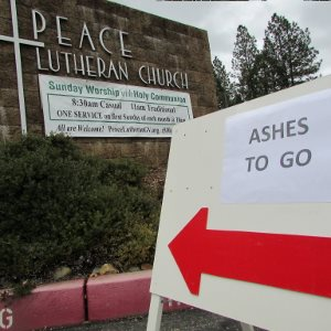 Ashes to Go! Get your Ash Wednesday blessing with our drive-thru system. Just follow the red arrows around the building to the carport.