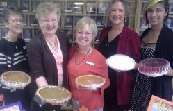 Members of Peace Lutheran Church Women offer home-made pies for sale on Sunday, Oct. 14, at the church.