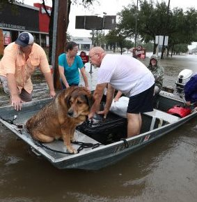 People use their boats to rescue neighbors Sunday, Aug. 27, 2017, in Friendswood, Texas, after Hurricane Harvey flooded the Houston region. ( Steve Gonzales / Houston Chronicle ) - CROPPED